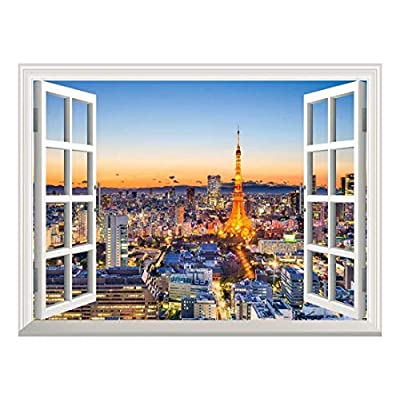 Unbelievable Piece, Removable Wall Sticker Wall Mural Tokyo Japan Skyline at Tokyo Tower Creative Window View Wall Decor, Professional Creation
