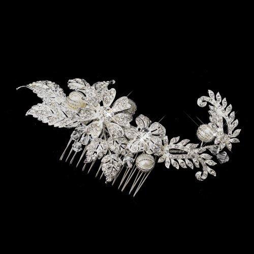 Fiona Silver Rhinestone, Crystal & Ivory Pearl Comb by Fairytale Bridal Tiara