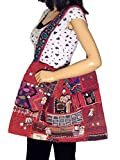 Ladies Bohemian Embroidered Ethnic Kutch Sling Red Shoulder Messenger Bag Large