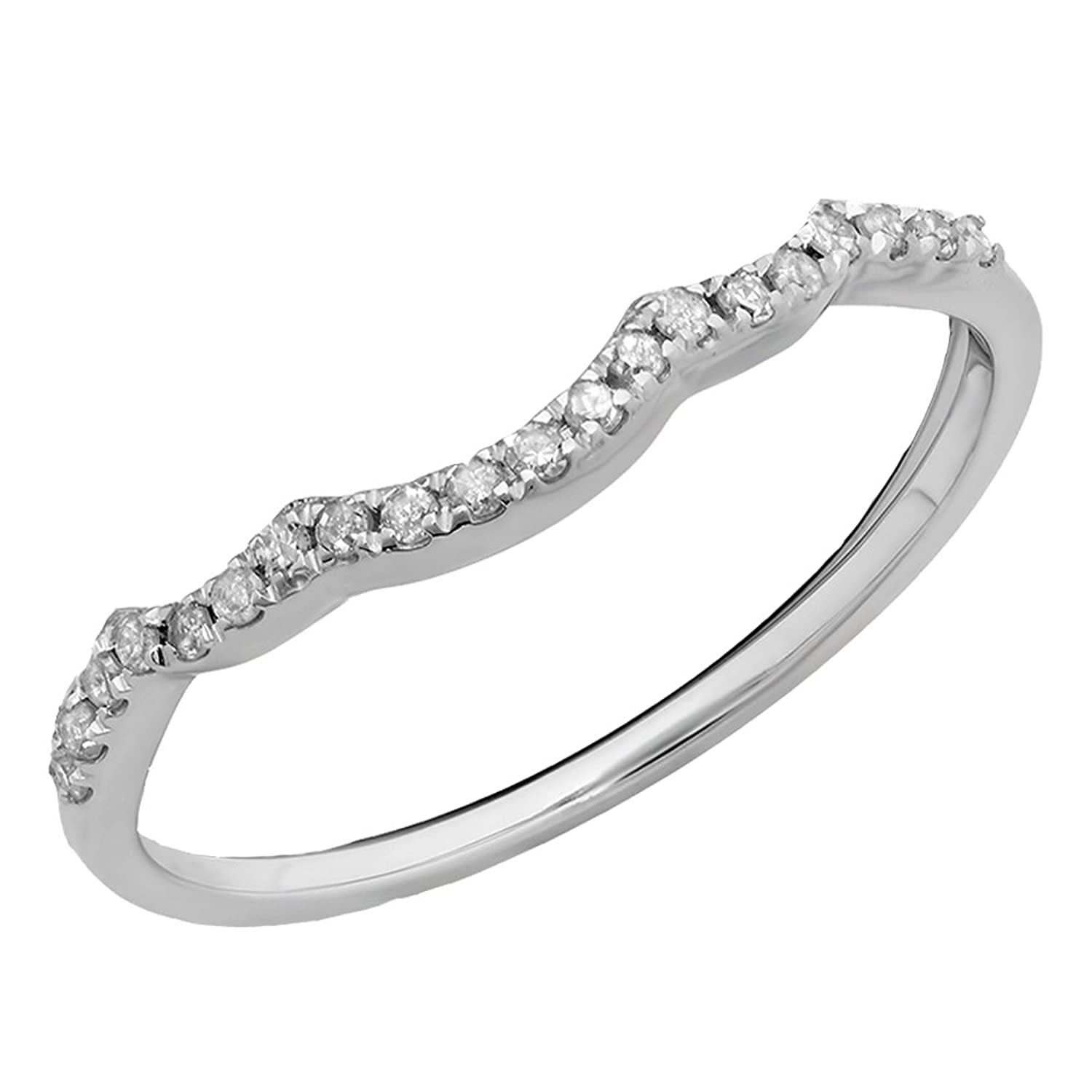 0.12 Carat (ctw) 10K Gold Round Cut Diamond Ladies Stackable Wedding Contour Band Guard Ring 1/10 CT