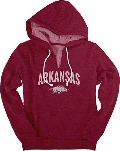 NCAA Arkansas Razorbacks Women's Heritage Fleece V-Notch Hood Shirt, Large, Cardinal
