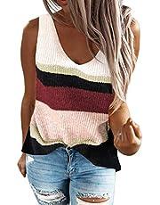 Asvivid Women's Summer Crewneck Knit Tank Tops Color Block Loose Sleeveless Blouse Shirts Tops
