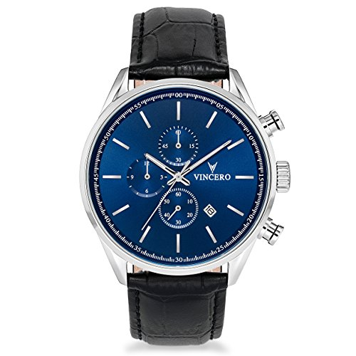 (Vincero Luxury Men's Chrono S Wrist Watch — Blue dial with Black Leather Watch Band — 43mm Chronograph Watch — Japanese Quartz Movement)