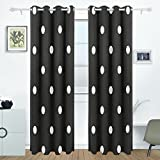 AIDEESS White Black Polka Dot Blackout Curtains Darkening Thermal Insulated Polyester Grommet Top Blind Curtain for Bedroom, Living Room,2 Panel (55W x 84L Inch)