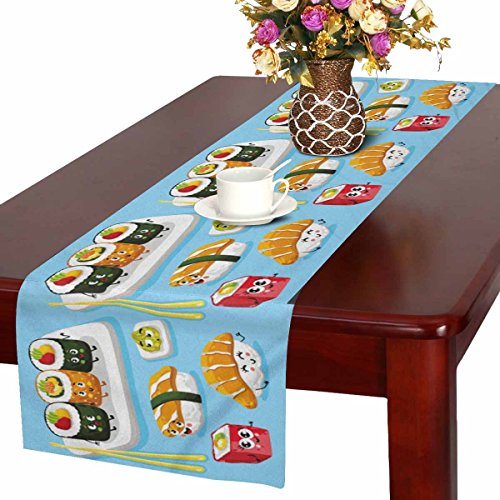- InterestPrint Funny Cartoon Sushi Emoji Cute Emoticon Face of Japanese Food Table Runner Cotton Linen Cloth Placemat for Office Kitchen Dining Wedding Party Banquet 16 x 72 Inches