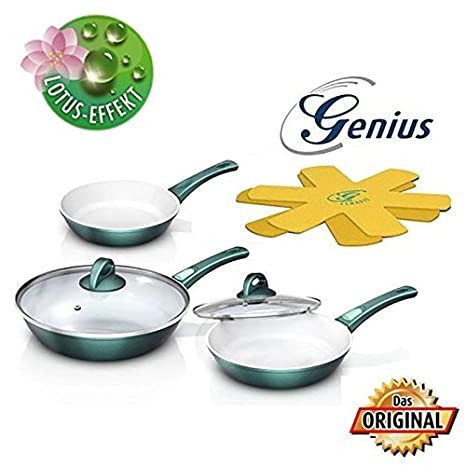 Zócalo Genius DIS1 Cerafit Fusion Juego de sartenes (7 piezas color verde esmeralda + Genius Flip & Flap tamaño s - M: Amazon.es: Hogar