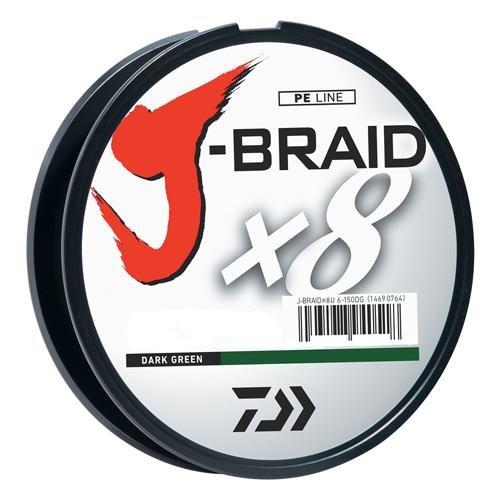 Daiwa J-Braid 300M 8-Strand Woven Round Braid Line, Dark Green, 40 lb