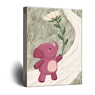 Alluring Design, Classic Design, Cute Cartoon Animals A Pink Elephant with a Giant Flower Kid's Room Wall Decor