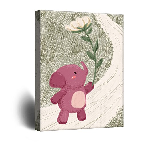 Cute Cartoon Animals A Pink Elephant with a Giant Flower Kid's Room Wall Decor