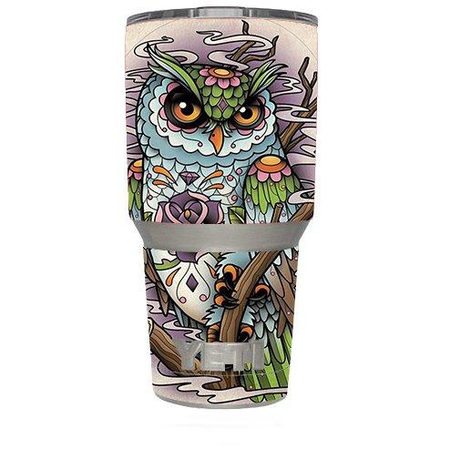 Skin Decal Vinyl Wrap for Yeti 30 oz oz Tumbler Cup (6-piece kit) / Owl Painting Aztec Style
