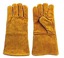 "Instapark Welding Gloves Medium Large MIG/STICK TIG Compatible | Split Leather Fleece Lined, Brown 14"" One Size Fits All"