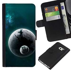 KingStore / Leather Etui en cuir / Samsung Galaxy S6 EDGE / Mundo extranjero Planet Cosmos Espacio Universo polvo