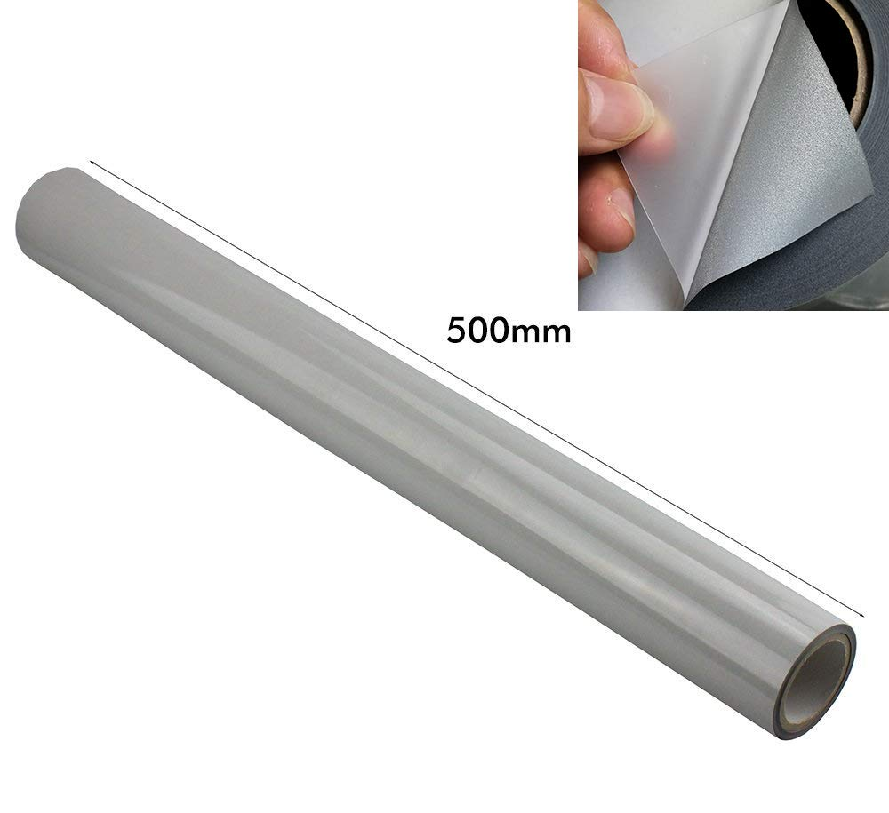 JINBING Silver Reflective HTV Heat Transfer Vinyl Film Iron On to Fabric Tape Fit Carving Machine for Running Gear, Reflect Logos, Letters Wide: 20'' (500mm x 2meter)