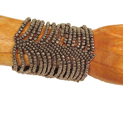 Wide Stretch Beaded Bracelet (Antique Silver Cleopatra Handmade Beaded Cuff Stretch Bracelet)