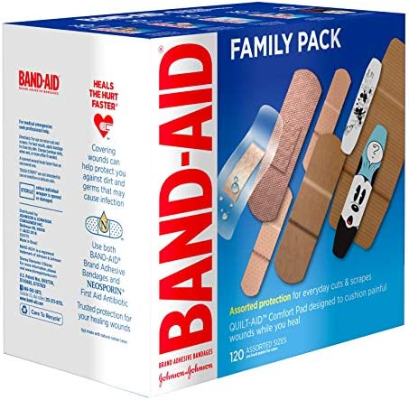 51XZFgZ4T9L. AC - Band-Aid Brand Adhesive Bandage Family Variety Pack In Assorted Sizes Including Water Block, Sport Strip, Tough Strips, Flexible Fabric And Disney Bandages For First Aid And Wound Care, 120 Ct