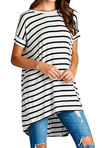 Foshow Womens High Low Tops Striped Short Sleeve Tunic Criss Cross Loose Casual Shirts