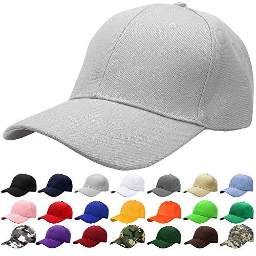 Acrylic Cap - Falari Baseball Cap Adjustable Size Solid Color G001-08-Grey