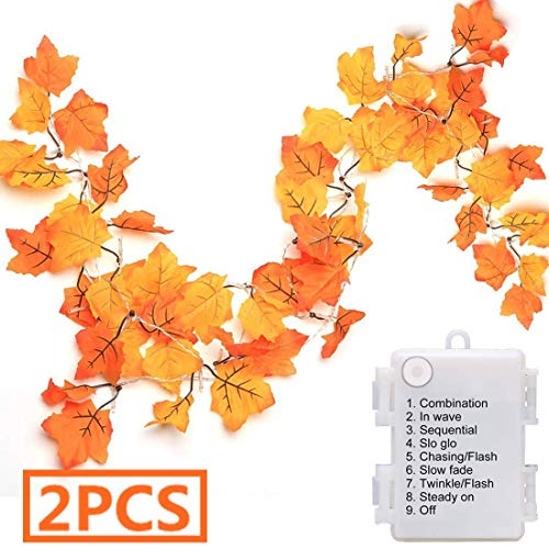 Luditek [2-Pack] 14.7ft Thanksgiving Decorations Autumn Garland - waterproof