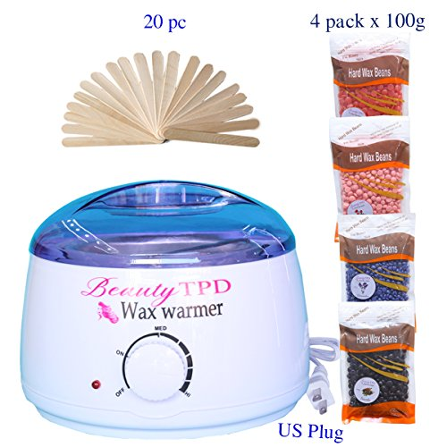 Price comparison product image Hair Removal Wax Melts Waxing Kit Hot Wax Warmer With Hard Wax Beans And Wax Applicator Sticks Safe, Gentle, Easy To Use with Lavender, Socola, Strawberry & Rose Scented Beans