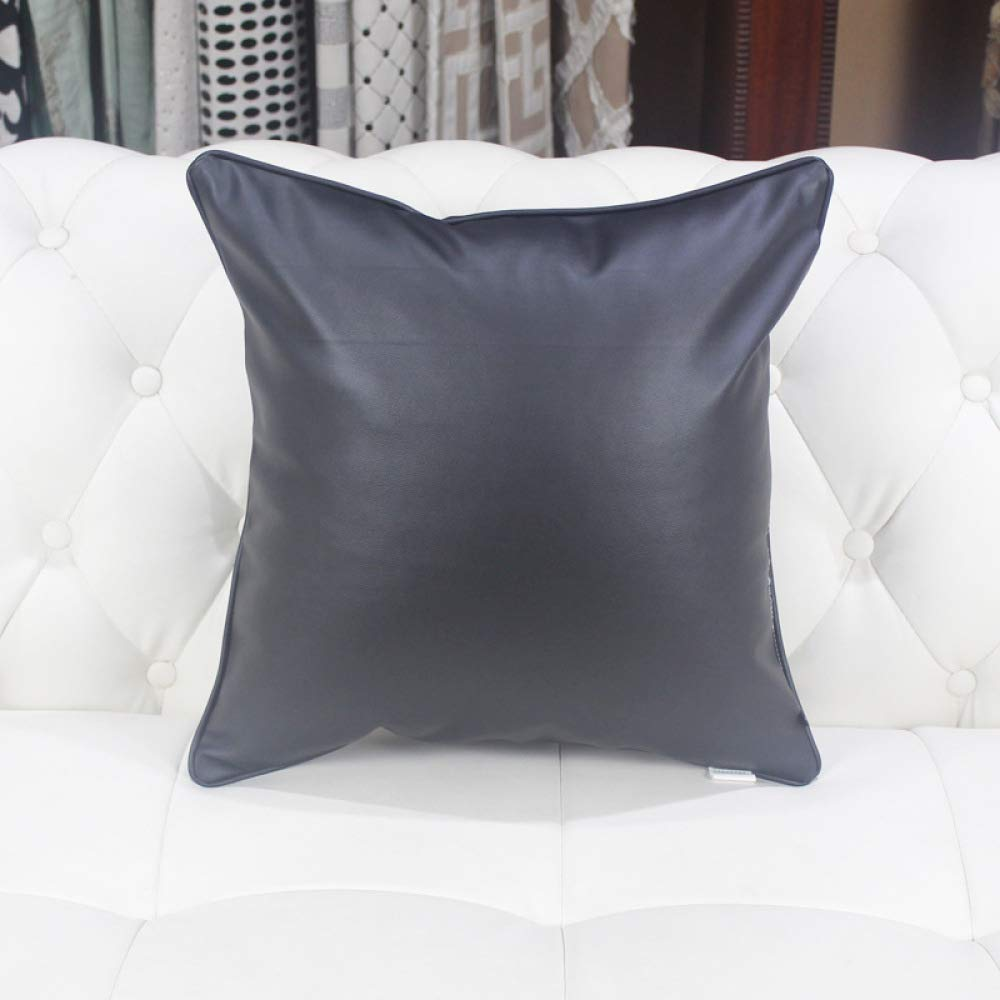 FASTCXV Imported Leather Solid Color Sofa Pillow Bed backrest Office Cushion car Pillow Lumbar Pillow Bright Black 45X45CM by FASTCXV