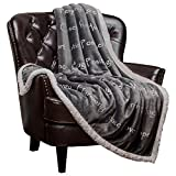 #6: Chanasya Super Soft Ultra Plush Healing Thoughts Warm Hugs Posivite Energy Comfort Caring Gift Gray Microfiber Throw Blanket ( 60