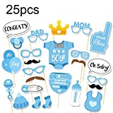 BDECOLL 25PCS Photo Booth Props Baby Shower New Born Party Photography Kit (Blue)