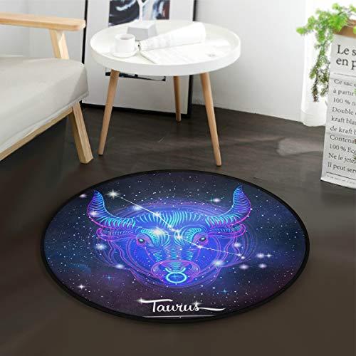 Constellation Zodiac Sign Taurus Round Playmat with Non-Slip Backing Play Mat Diameter -