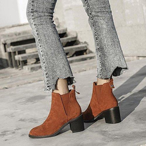 KHSKX-Braun 6 5 Cm Runder Kopf Einzelne Schuhe Grau Dick Mit Gummizug Und Raw High-Heeled Stiefel Weibliche Stiefel 36