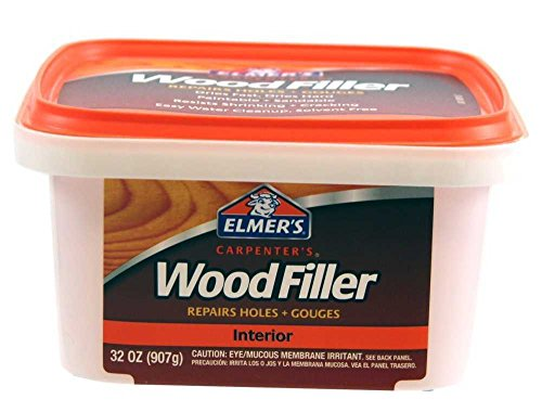 Elmer's E842L Carpenter's Interior Wood Filler 32 Oz. (Pack of 6); Ideal for Repairing Holes, Dents, Scratches, Gouges and Defects On Any Wood, Wallboard, Molding or Painted Surface; 12-24 Hours Dry T by Elmer's