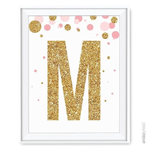Andaz Press Nursery Wall Art Decor, Pink and Printed Gold Glitter, Letter M, 8.5x11-inch, 1-Pack, Unframed Prints Poster
