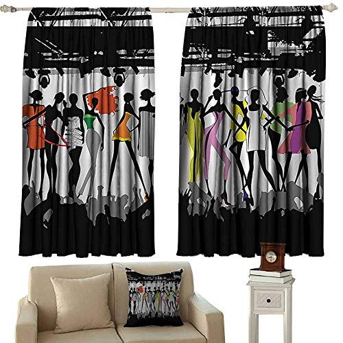 linen curtains Funny Feminine,Modern Colorful Fashion Show Bodycon Runway Stage Lights Concert Chic Top Models Fantasy,Black White Coral Purple Green 72