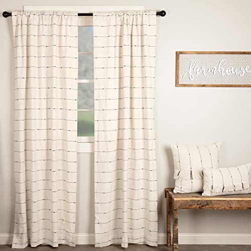 Piper Classics Farmcloth Stripe Panel Curtains Set of 2 84quot Long Urban Rustic Farmhouse Style Curtain Natural Cream Woven w/Black Stripes