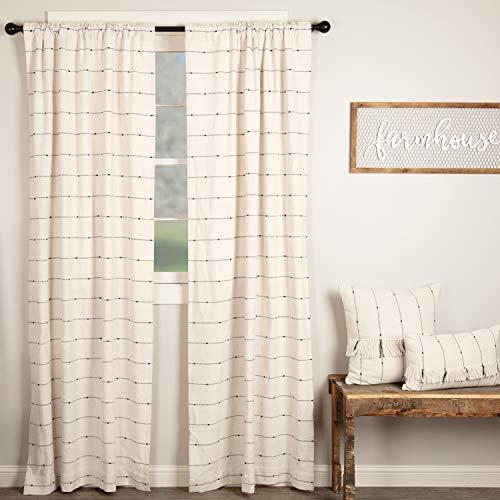 Piper Classics Farmcloth Stripe Panel Curtains Set of 2 84quot Long Urban Rustic Farmhouse Style Curtain Natural Cream Woven w/Black Stripes