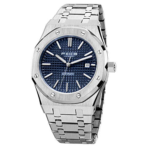 FEICE Reloj mecánico automático para hombre Relojes de vestir para hombre Reloj de pulsera deportivo impermeable -FM019 (4_Blue)