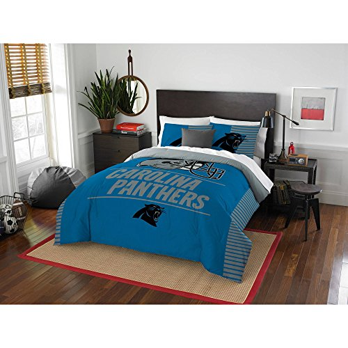 3 Piece NFL Panthers Comforter Full Queen Set, Blue Grey Multi Football Themed Bedding Sports Patterned, Team Logo Fan Merchandise Athletic Team Spirit Fan, Polyester, For Unisex (Queen Nfl Bedding Comforter)