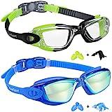 EverSport Kids Swim Goggles, Pack of 2 Kids Swimming Goggles, Crystal Clear Swimming Goggles for Children and Teens, Anti-Fog Anti-UV Youth Swim Glasses, Leak Proof, Soft Silicone Frame, for 4-16 Y/O