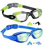 Kids Swim Goggles 2 Pack, Green/Black & Mirrored Blue, Swimming Goggles for Teenagers