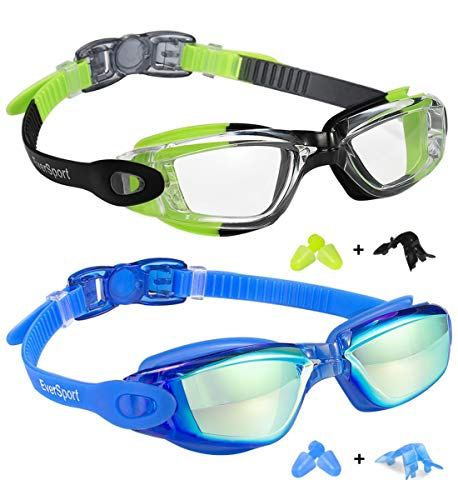 Kids Swim Goggles 2 Pack, Green/Black & Mirrored Blue, Swimming Goggles for Teenagers, Anti-fog Anti-UV Youth Swimming Glasses, Leakproof, Free ear plugs, one button open straps, for 4-15 Y/O