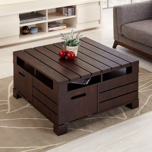 n Wood Coffee Cocktail Accent Table in Espresso Finish - Includes Modhaus Living (TM) Pen (Knoll Living Room Coffee Table)
