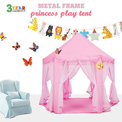 EZGOshop Princess Tent Metal Frame with Star Lights Hexagon Kids Play Tent Princess Castle Indoor Outdoor Playhouse with Banners décor and Gift Not PVC 55
