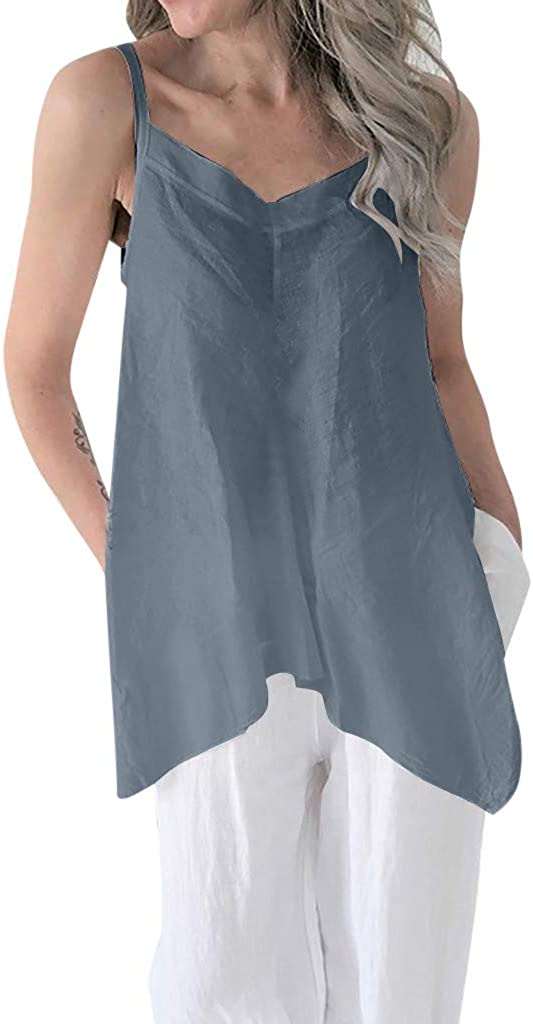 YANG-YI Gifted Idea Casual Soild Linen V Neck Loose Blouse Thin Irregular Hem Tunic Top Women Summer Sleeveless Vest
