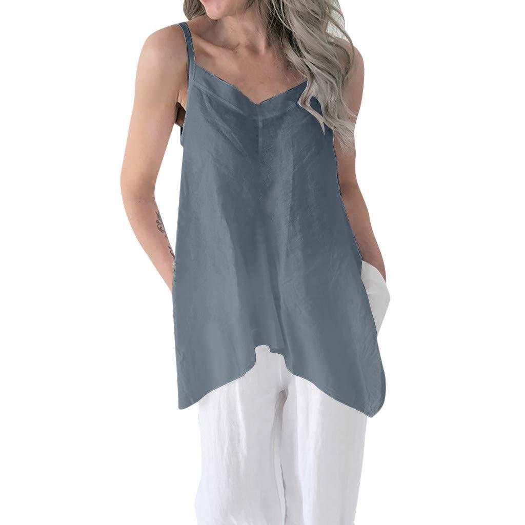 Casual Soild Linen V Neck Loose Blouse Thin Irregular Hem Tunic Top Women Summer Sleeveless Vest YANG-YI Gifted Idea
