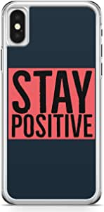 iPhone X Transparent Edge Phone Case Positive Phone Case Motivation Phone Case Girl Power iPhone X Cover with Transparent Frame