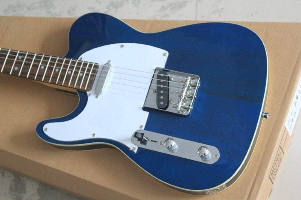 LOIKHGV Venta al por Mayor Guitarra eléctrica de Cuerda Azul Transparente Transparente Izquierda con diapasón de Palisandro, Oferta Personalizada, Guitarra, 38 Pulgadas