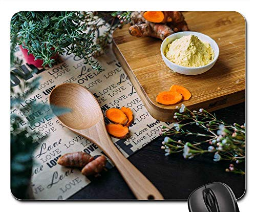 Mouse Pad - Wooden Table Ladle Wood Chopping Board Green