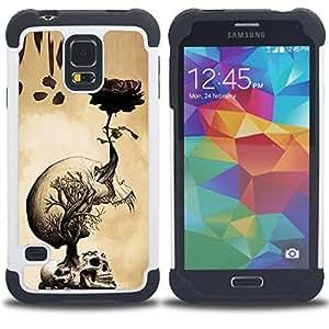 """SAMSUNG Galaxy S5 V / i9600 / SM-G900 - 3 en 1 impreso colorido de Altas Prestaciones PC Funda chaqueta Negro cubierta gel silicona suave (Skulls cerebro Dibujo Roots Arte"""")"""