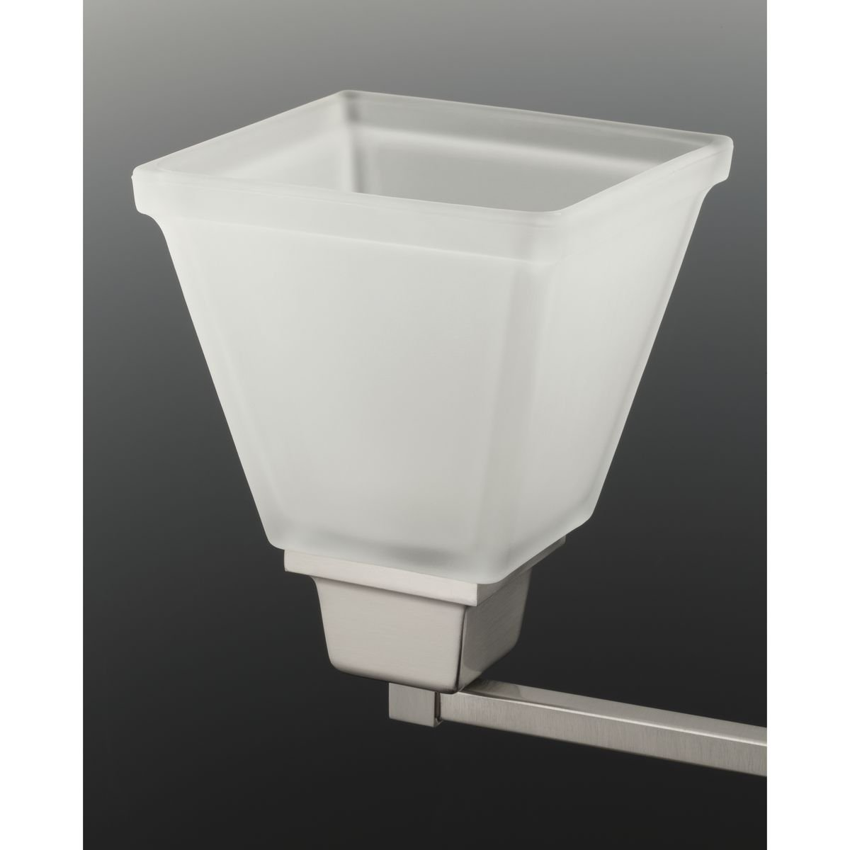 Progress Lighting P2743-09 3-Light Bath Fixture with Square Etched Glass and Can Mount Up or Down, Brushed Nickel