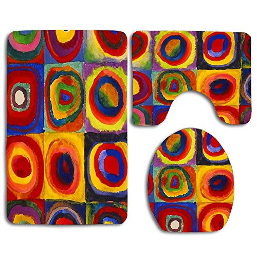 (Squares with Concentric Circles by Kandinsky Bath Rug Set 3 Piece Non Slip Absorbent Bath Mats Set for Bathroom Rug Rubber Backing Mat, Bathroom Accessories )