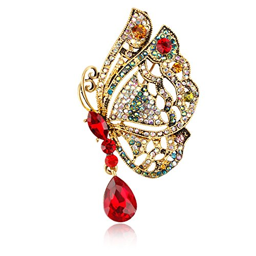 USIX Pack of 3 Winged Butterfly Rhinestone Crystal Brooch Pin w/ Tear Drop Pendant for Dress, Sweater Embellishments, DIY Wedding Bouquet Dress Corsage Boutonniere Decoration(7560-Redx3)