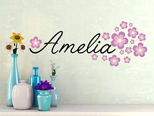 Script White Decal - Fancy Name wall decal - baby girl personalized vinyl name includes flowers - name wall decal - script style wall name decal - flowers B2 PLUS FREE 12